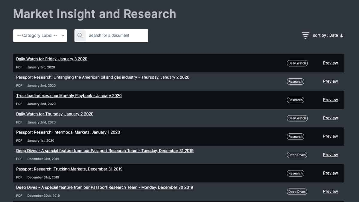 Freight Market Research